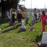 The class visits the Big Run Cemetery.