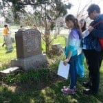 Students learn about symbols on gravestones.