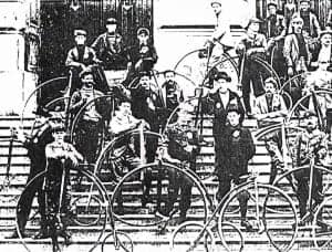 Garrett Henricks is second row, far left. Taken c.1893-95, on the south steps of the Indiana State Capitol