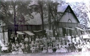 Campers in front of the pavilion at the Acton Campground.