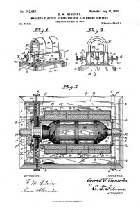 Garrett's patent drawing for one of several magneto designs.