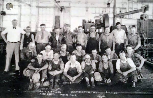 Men of the Beech Grove Wheel Shop train maintenance